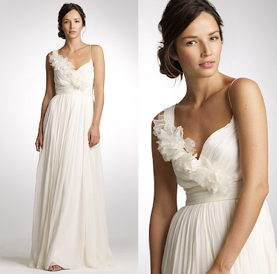 This new J Crew wedding dress with its flower trim would be perfect for