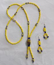 Cod 2227 Collar étnico de mostacillas amarillas, azules y cristales