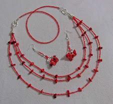 Collar de corales y mostacillas rojo cod 1783