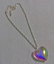 Cod 2141 Corazón de cristal y cadena en doble baño de plata
