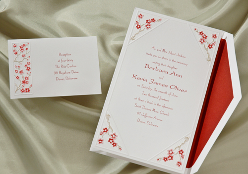 Cherry Blossom Wedding Invitations at The Purple Mermaid