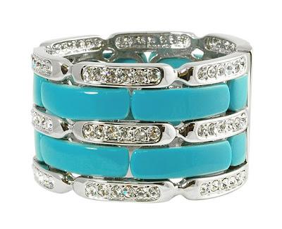 Turquoise and Rhinestone Cuff Bracelet