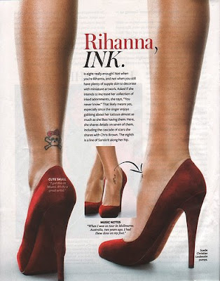 foot tattoo. yup, ouch! her first tattoo too. trooper. Rihannas Feet