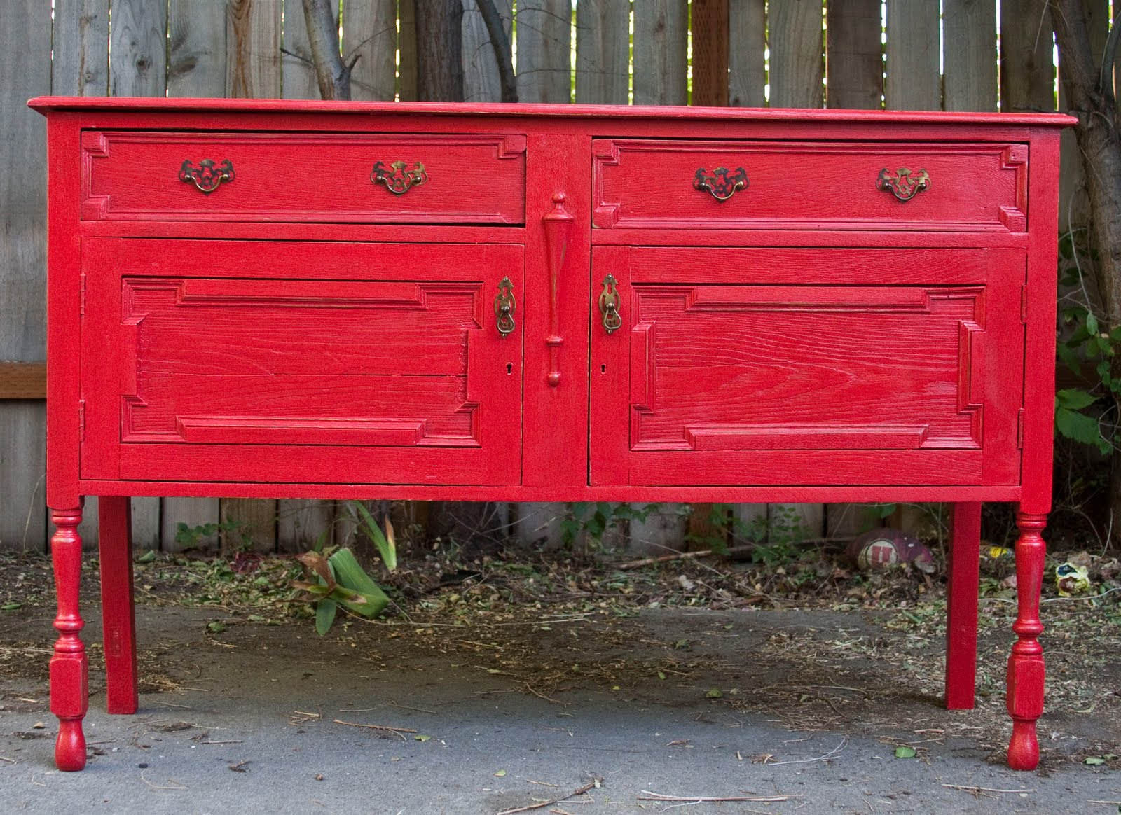Antique buffet table furniture - Shabby Chic Bright Red Antique Buffet