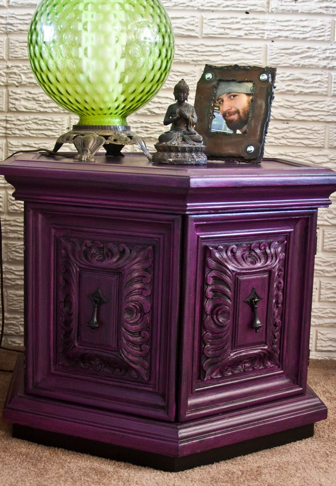 modernly shabby chic furniture purple and black nightstand. Black Bedroom Furniture Sets. Home Design Ideas