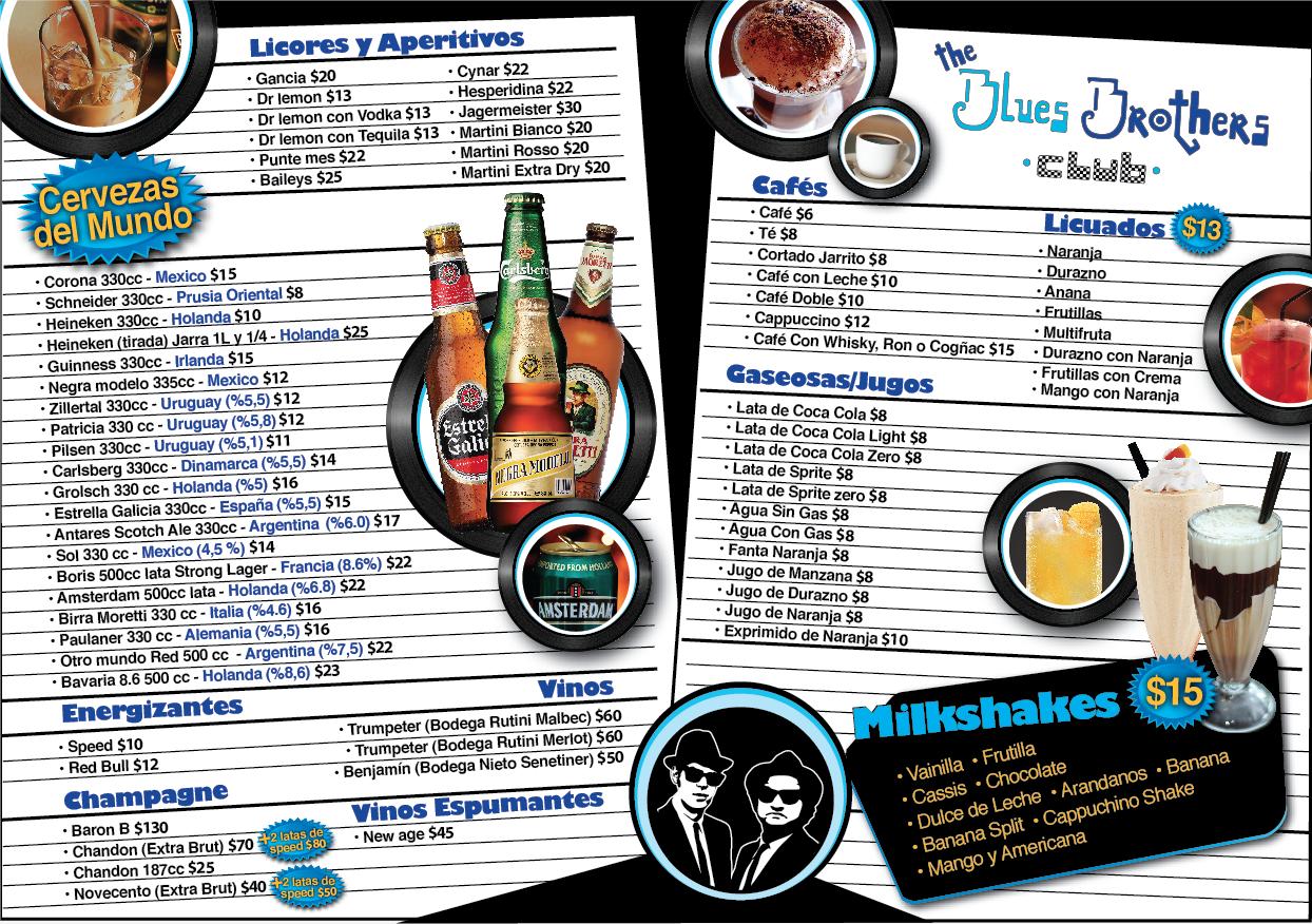 The Blues Brothers Club Nueva Carta De Bebidas Y Comidas