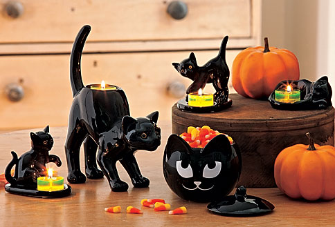 the cats are playful and charming and they fit into my halloween decor perfectly the black cat measures 9 12 and the kitten measures 2