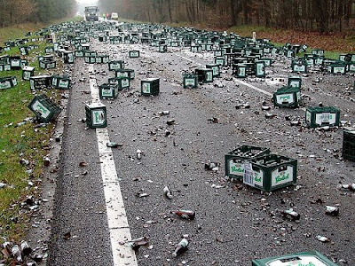image: beer bottles scattered