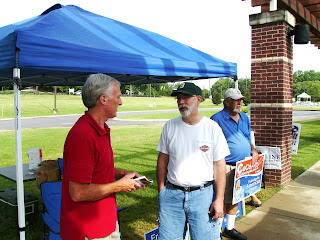 Jim Gotto chats with a voter