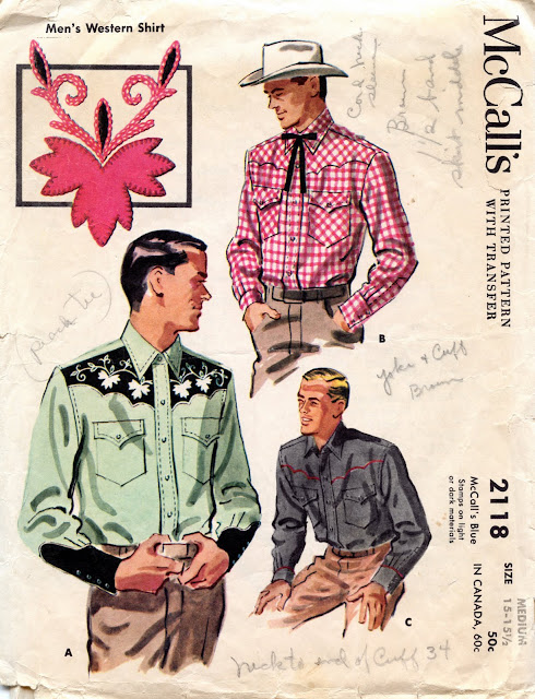 Unsung Sewing Patterns: McCall\'s 2118 Men\'s Western Shirt