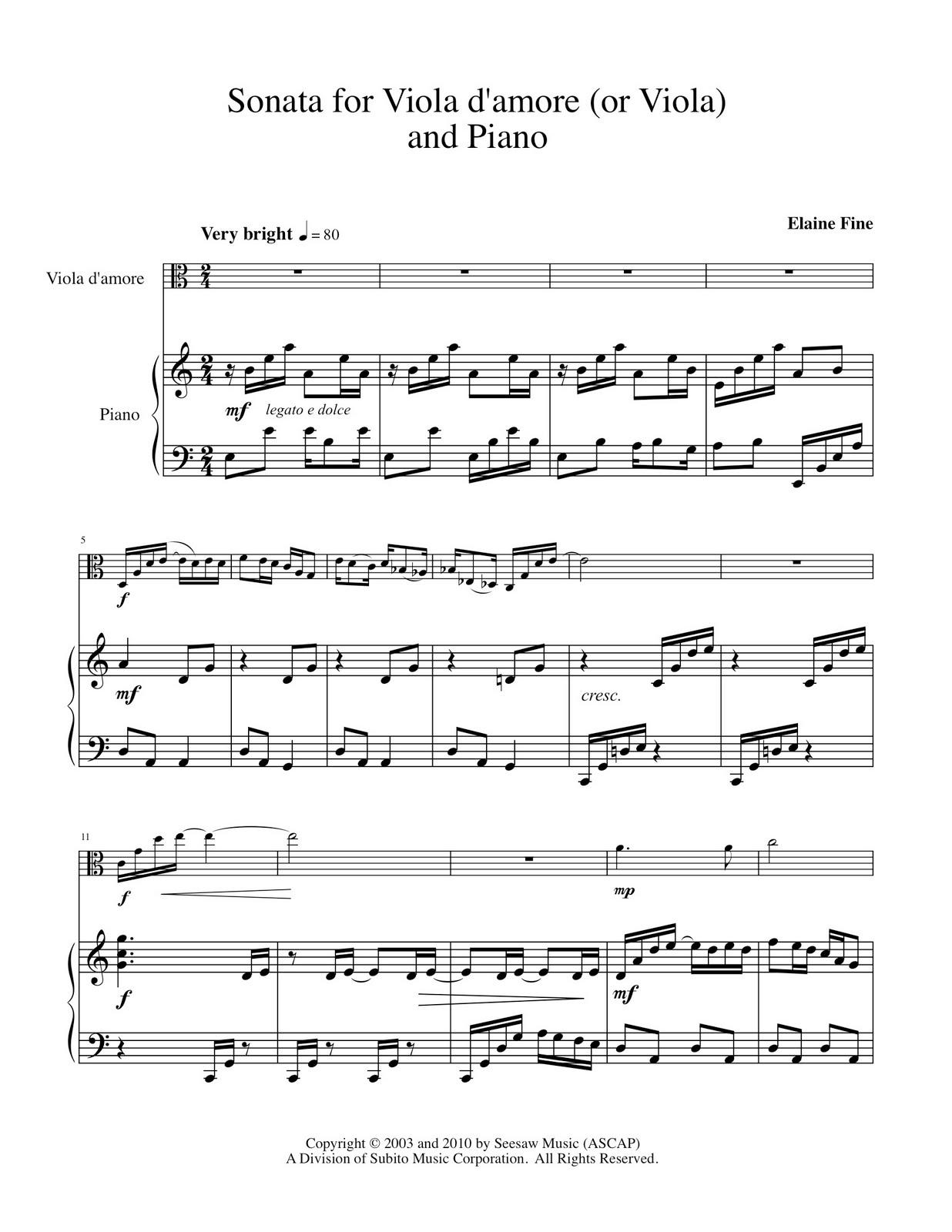Elaine Fine's Thematic Catalog: Sonata Viola d'amore (or ...