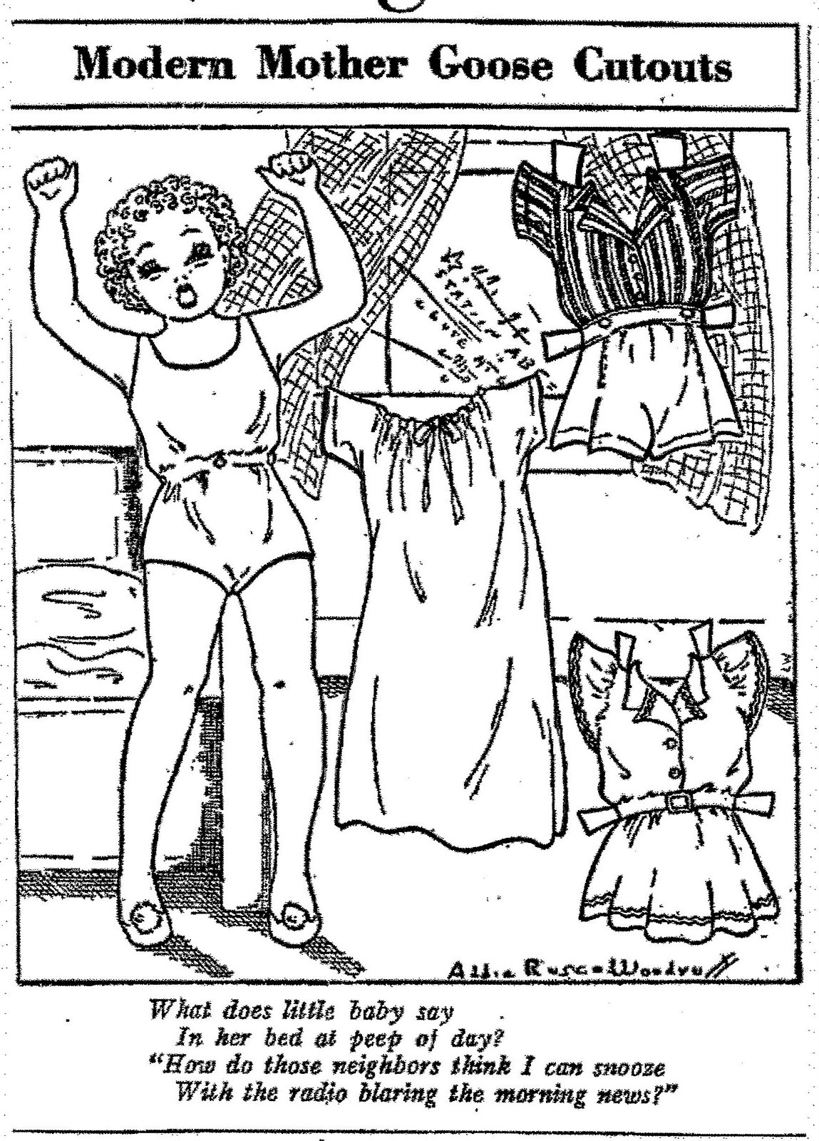 Top Little Miss Hubbard And Little Baby Paper Dolls By Pinta Santa Coloring Pages