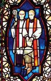 Pastor mit Junge Fenster