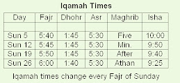 AUGUST PRAYER TIMES (WEEKLY)