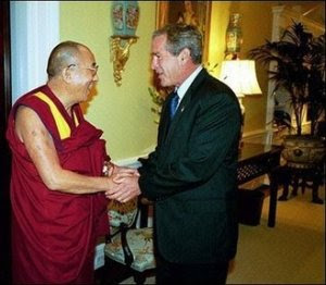 Dalai Lama meets President Bush at the White House