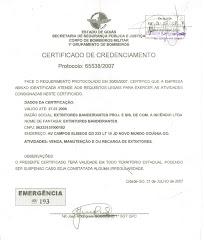 certificado do corpo de bombeiros