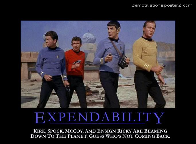 Expendability (Kirk, Spock, McCoy and ensign Ricky)