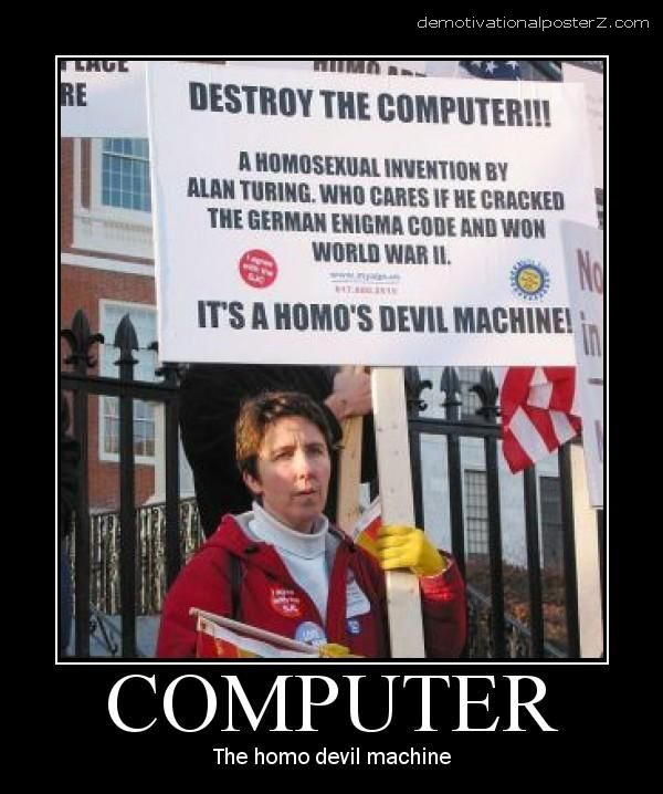 computer the homo devil machine woman protests