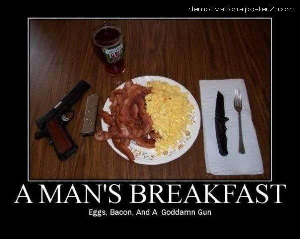 A man's breakfast - eggs, bacon and a gun