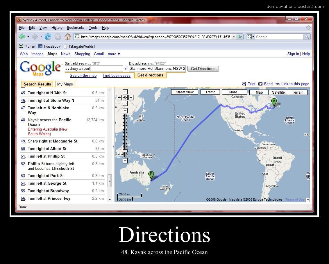 GOOGLE DIRECTIONS - kayak across the Pacific Ocean