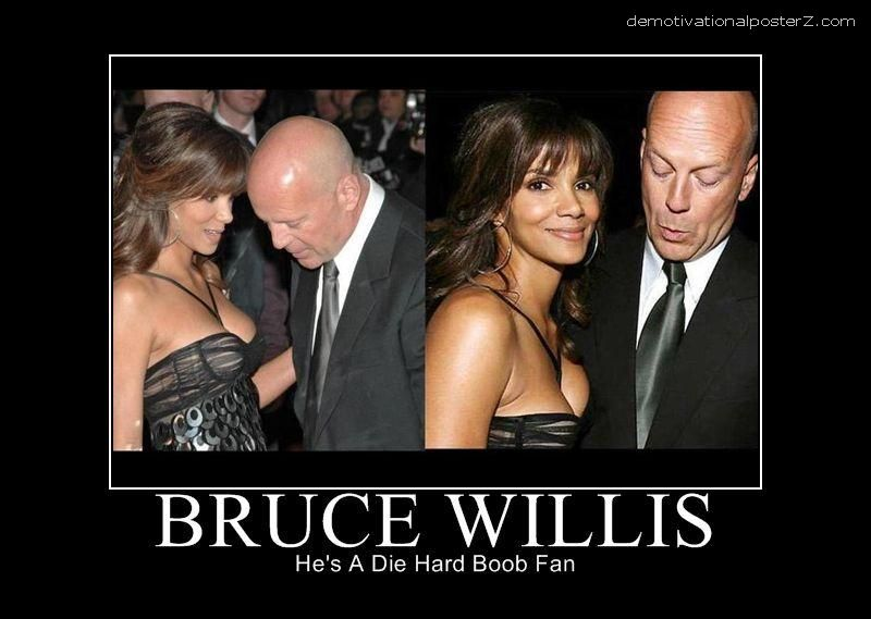 BRUCE WILLIS staring at boobs