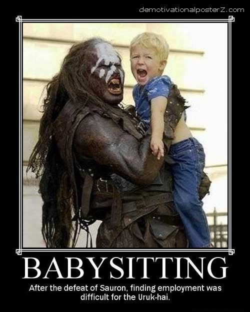 monster uruk-hai holding baby child