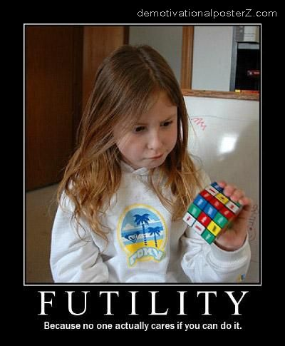 futility rubiks cube motivational poster