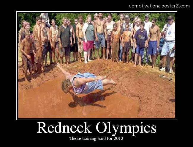 redneck olympics jumping into mud filled pond