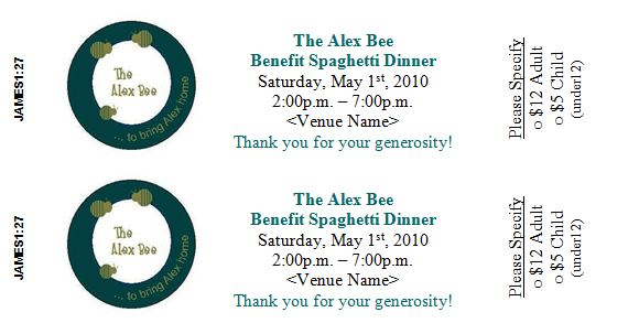 Spaghetti Dinner Ticket Template  Dinner Ticket Template