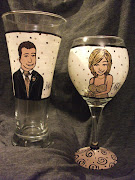 Wedding Wine Glass & Beer  GlassHand Painted Personalized