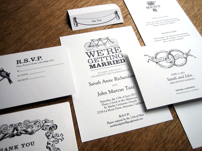 Black And White Wedding Invitations Templates. Wedding Invitation Kit and