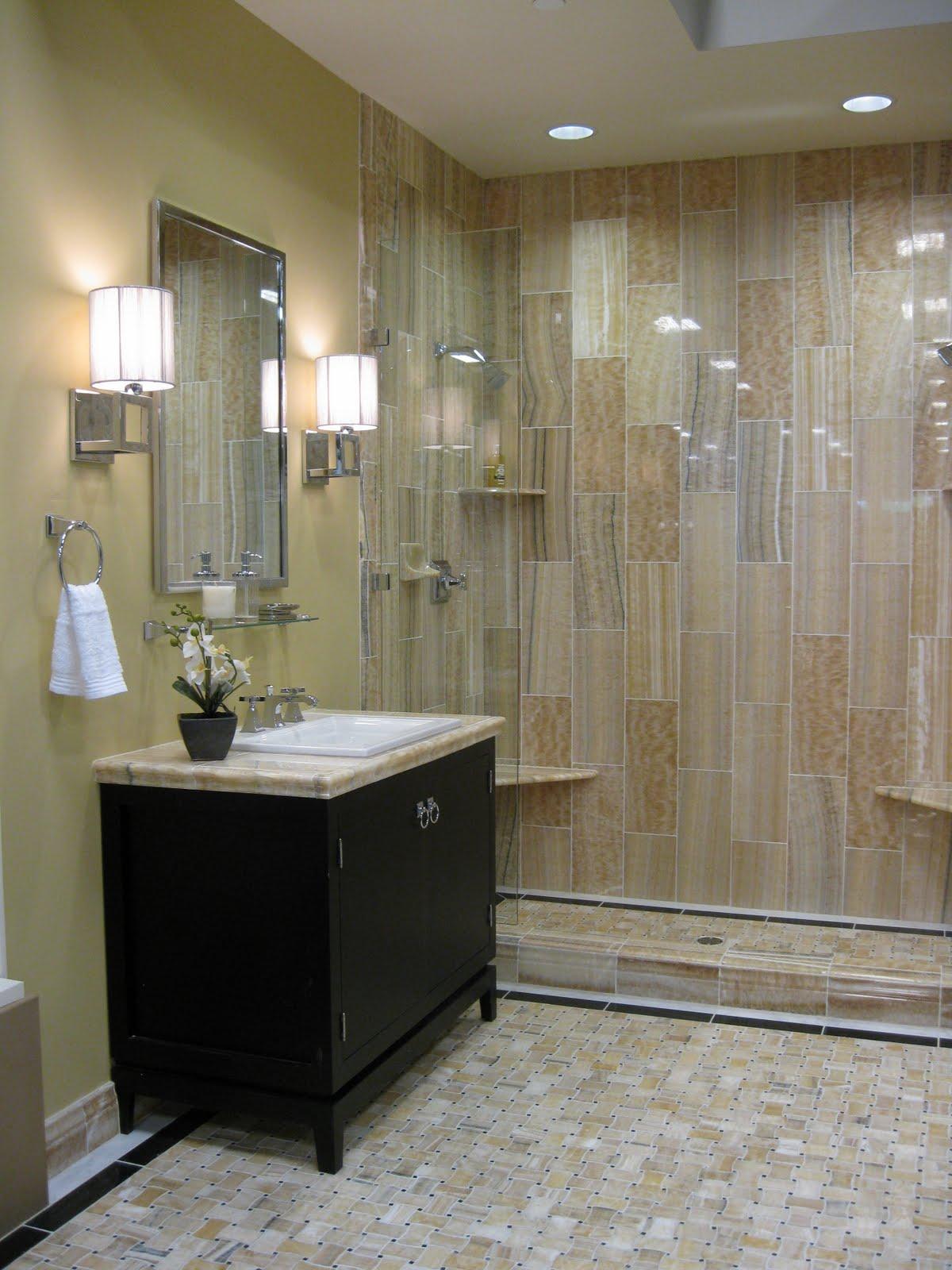 Vertical tile double shower bathroom design inspire for Double shower bathroom designs
