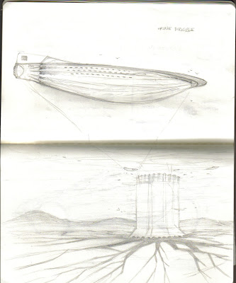 started drawing an airship on the plane ride home