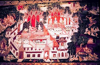 Murals of Wat Khongkharam, Ratchaburi, Thailand
