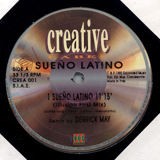 Image of record centre for Sueno Latino by Sueno Latino, the Illusion First Mix by Derrick May - slow techno