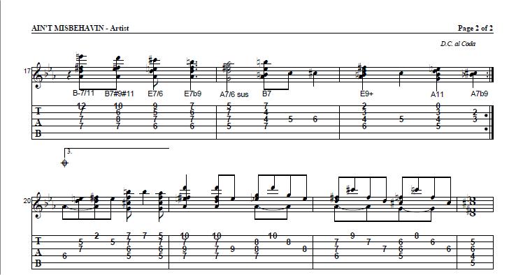 Jazz guitar tabs