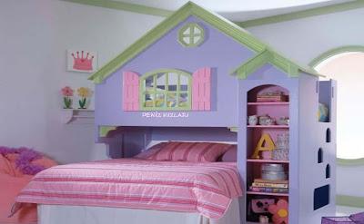 ev şekli çocuk yatakları