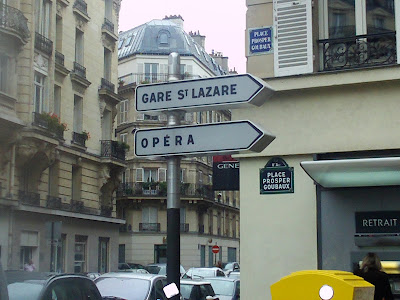 Signs pointing to the St Lazare Train Station