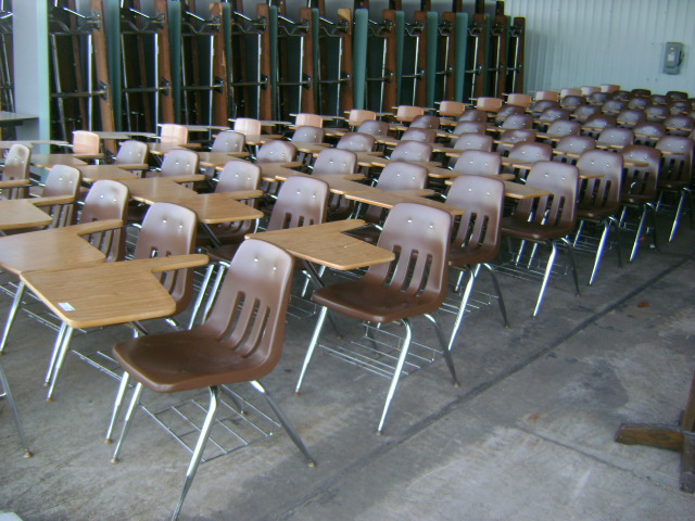 SCHOOL CHAIRS WITH ATTACHED WRITING BOARD & SAFINA-USA. USED OFFICE FURNITURE WAREHOUSE: Desk and Chairs  File ...
