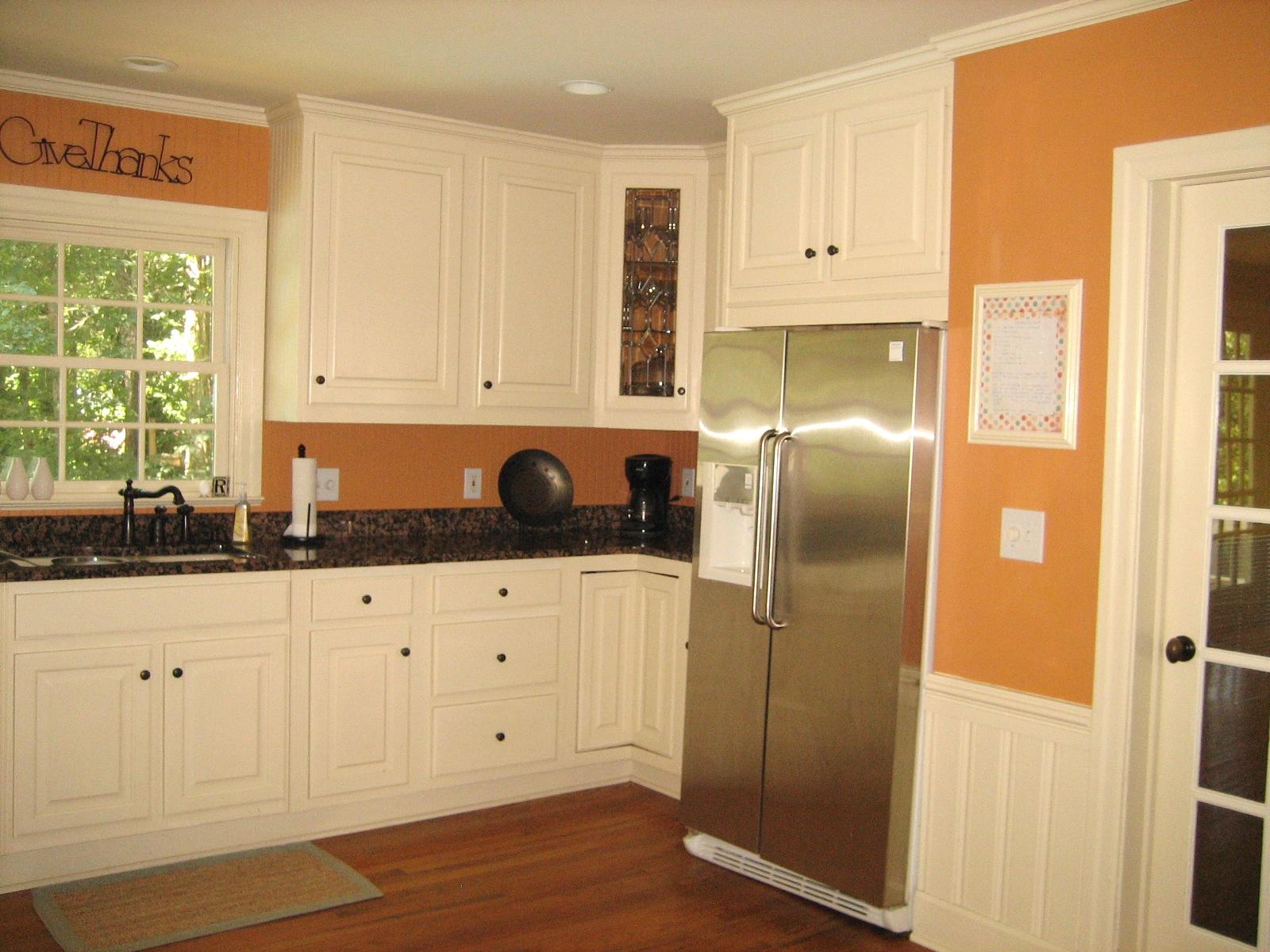 Dark Orange Kitchen orange kitchen walls with white cabinets rail like we wanted dark