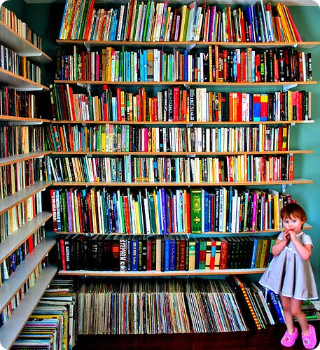 Colorful bookshelves