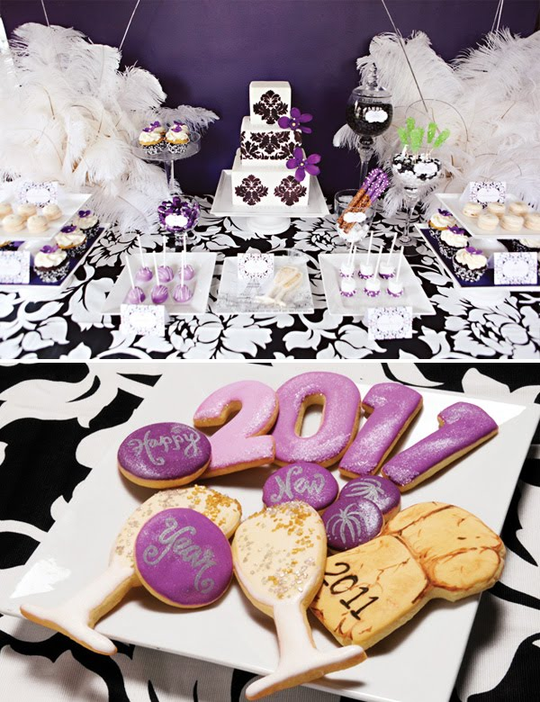 Purple Demask Dessert Table Setting