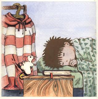 Ilustración infantil la ratona se esconde en el bolsillo, hecha por ªRU-MOR