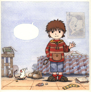 Ilustración infantil de la ratona Olivia y su dueño, hecha por ªRU-MOR