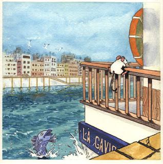 Ilustración cuento infantil de la Calle Betis y rio Guadalquivir en Sevilla, hecha por ªRU-MOR