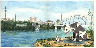 Ilustración cuento infantil de la Expo 92 de Sevilla, hecha por ªRU-MOR