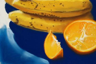 orange and bananas fruit daily pastel painting