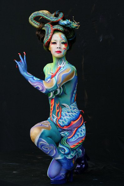 body art painting with a different tattoo painting the body does not ...