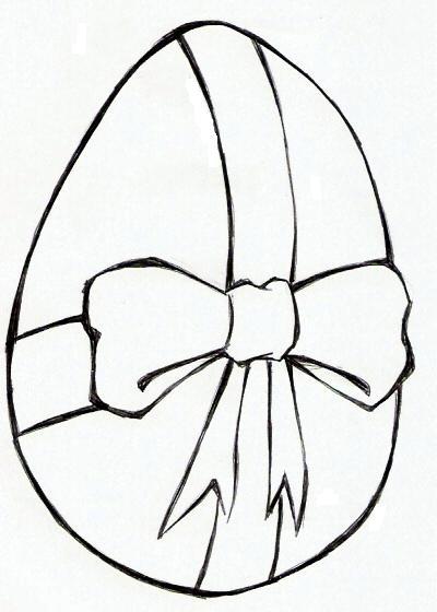 colorindo com a dry desenho de ovo de pascoa com um laço para