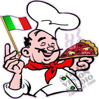 Pizza Chef Flag Cartoon